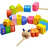Caterpillar Lacing Beads- Toddler Learn Counting, Numbers and Shapes- Baby Kids Fine Motor Skills Toys
