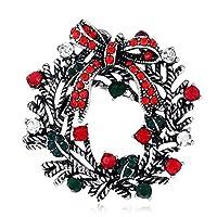 Grace Jun クリスマスシリーズ コサージュツリー 雪の結晶 花輪 サンタ ブローチ ピン エレガント クリスマスギフト