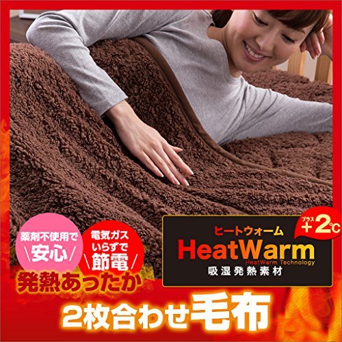 Heat Warm 発熱 あったか2枚合わせ 毛布 ダブル ブラウン 40220306