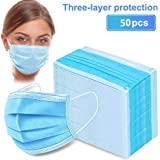 50pcs Disposable Earloop Face Mask,Breathable Non-Woven Dust Filter Face Mask, Breathable and Comfortable for Dust, Pollen Al