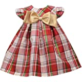 Bonnie Jean Baby Girl's Tartan Plaid Holiday Christmas Dress with Gold Bow