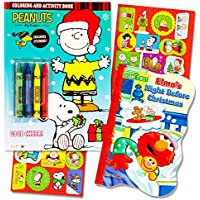 Sesame Street PeanutsクリスマスカラーリングブックSuperセットwithクレヨンandステッカーKids Toddlers ( 2 Books Featuring Sesame Street Elmo , Charlieブラウンand More 。 )