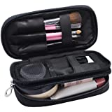 Small Makeup Bags for Women, Travel Cosmetic Bag, 2 Layer Beauty Brush Toiletry Bag with Mirror