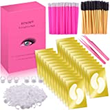 Under Eyes Pads, BTNOW 100 Pairs Eyelash Extension Gel Patches Kit with Eyelash Brush Eyelash Tweezers Eyelash Extension Ring