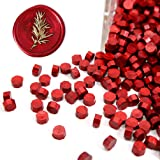UNIQOOO Arts & Crafts 180 Pcs Metallic Burgundy Wine Red Box Sealing Wax Beads Nuggets for Wax Seal Stamp, Great for Embellis