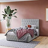 133cm Headboard Linen Fabric Bed Frame with Gas Lift Storage King Queen Double (Double, Light Grey)