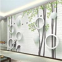 Wapel ?カスタム写真の壁紙のスティック 3 D モダンなシンプルなレンガの壁エルク円抽象的なツリー飛ぶ鳥の背景の壁 400 Cmx 280 cm