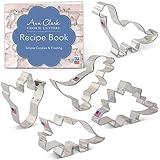 Ann Clark Cookie Cutters Dinosaur Cookie Cutter Set with Recipe Book - 5 Piece - Triceratops, Stegosaurus, T-Rex, Brontosauru