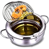 Tempura Deep Fryer Pot Japanese Style 304 Stainless Steel Uncoated Frying Pan with Temperature Control and Oil Drip Rack Lid