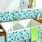 【 Dream Sticker 】モザイクタイルシール キッチン 洗面所 トイレの模様替えに最適のDIY 壁紙デコレーション ALT-10 ブルー N-blue 【 自作アートインテリア / ウォールステッカー 】貼り方説明書付属
