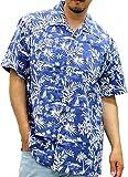 ROUSHATTE(ルーシャット) 大きいサイズ メンズ シャツ 半袖 アロハシャツ クラシックブルー LL