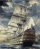 CaptainCrafts 新しいです油絵DIY 数字キット大人のための40 x 50 cmの絵画 - セイルボート, 帆船, 軍艦 (フレームレス)