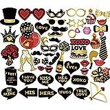 写真用小道具 40個セット バレンタインデー 写真キット 記念日 口ひげ ウェディング DIY 装飾 ロマンチック 背景 紙素材 フォトブース パーティー サプライ 面白い