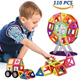 Magnetic Building Blocks,Unique Bright Magnet Toys Set,110 PCS 3D Magnetic Construction Blocks,DIY Creative and Educational Toys for Kids Comes with Storage Bag, Alphabets and Numbers