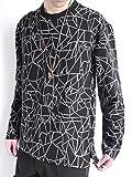 (モノマート) MONO-MART 立体プリント 総柄 幾何学模様 ワイド プルオーバー カットソー L/S 伸縮性 BIGシルエット Tシャツ ゆる シルエット メンズ ブラック ワンサイズ