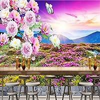 Jason Ming 壁紙3D屋外山日没風景牡丹図背景壁壁画リビングルームレストランカフェ壁紙-200X140Cm