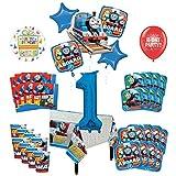 Mayflower Products きかんしゃトーマス タンクエンジン 1歳の誕生日パーティー用品 8つのゲストデコレーションキットとバルーンブーケ