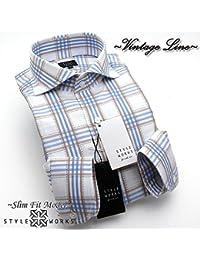 (スタイルワークス) メンズ長袖ワイシャツ 青カッタウェイ ワイドカラー チェック | 青/LL