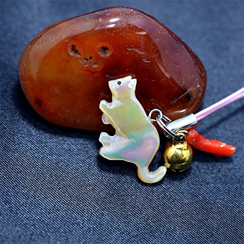 【にゃんこな日々】 猫 夜光貝 ストラップ 土佐沖血赤珊瑚付き 桃色紐