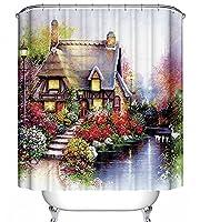 Cottage Floralシーンファブリックシャワーカーテン70x 70kinkade-style家花