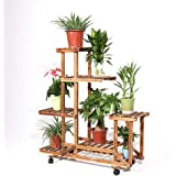 UNHO Corner Plant Stand Indoor, Wood Plant Holder Tiered Planter Outdoor Plant Pot Stand Garden Shelves for Living Room Patio