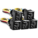Nilight 50003R Automotive Set 5-Pin 30/40A 12V SPDT with Interlocking Relay Socket and Wiring Harness-5 Pack, 2 Years Warrant