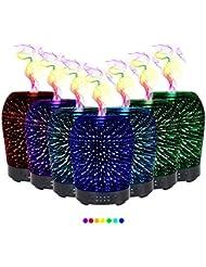 エッセンシャルオイル用ディフューザー (100ml)-クリエイティブガラスゴージャスな花火アロマ加湿器7色変更 LED ライト & 4 タイマー設定、水なしオートシャットオフ