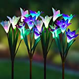 WOHOME Outdoor Solar Garden Stake Lights,4 Pack Solar Powered Lights with 16 Lily Flower, Multi-Color Changing LED Solar Land