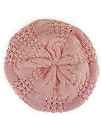 【ノーブランド品】 no brand (カラー:ピンク) 帽子 サマーニット ケーブル スクエア編み ベレー帽 模様編み コットン100% ベレー レディース メンズ 春 夏 男女兼用