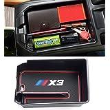 Jaronx Armrest Secondary Storage Box Compatible with BMW X3 2018, Center Console Insert Organizer Tray