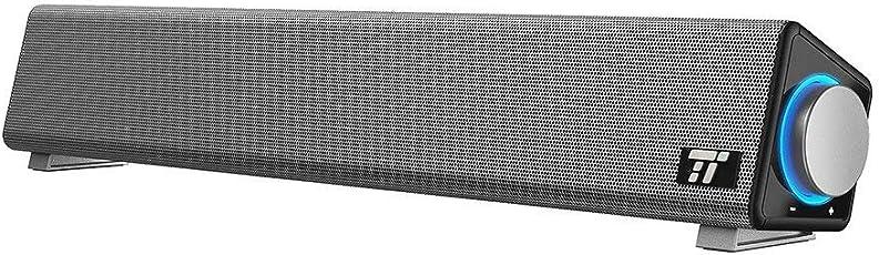 PC スピーカー TaoTronics ステレオ USB サウンドバー 小型 大音量 高音質 (マイク端子とヘッドホン端子付、高い互換性) テレビ/パソコン / スマホ 対応 TT-SK018