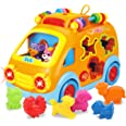REMOKING Baby Electronic Musical Bus Toys with Lights & Music,Shape Color Sorter,Rotating Gear,Early Development, Learning To