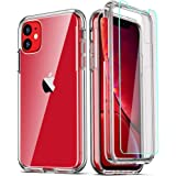 COOLQO Compatible with iPhone 11 Case, and [2 x Tempered Glass Screen Protector] for Clear 360 Full Body Coverage Hard PC+Sof