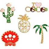 SEVENSTONE Enamel Lapel Pins Sets Cute Cartoon Animal Plant Pearl Pineapple Badges Brooches for Clothing Bags Backpacks Jacke