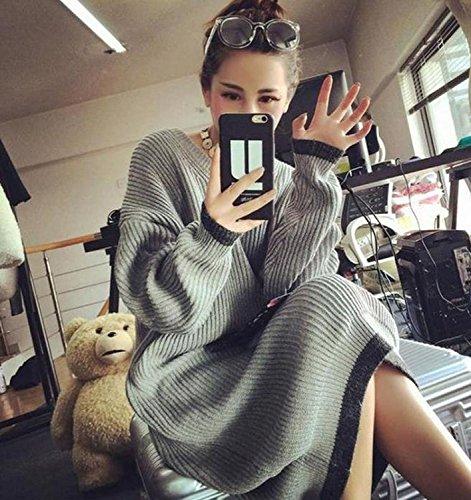 (アンベリール)Embellir 暖かい フワフワ 着回し 長袖 セーター カジュアル ロング ニット ワンピース (グレー)