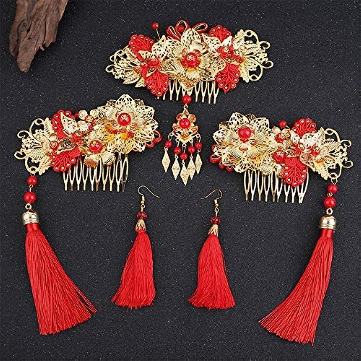 ウィスキーブート折Wedding Classical Traditional Chinese Wedding Bride Hair Accessory With Combs wedding accessories [並行輸入品]