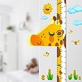 DUOUPA 身長計 子供身長測り ウォールステッカー 壁貼り身長計 キリンの頭移動でき(磁石付き) かわいい(キリン)