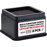 "iPrimio Bed Furniture Risers - 8 Pack Square Elevator up to 2"" Per Riser Lifts up to 10,000 LBs - Protect Floors Surfaces - D"