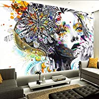 Lixiaoer カスタム壁画壁紙カラー手描きの抽象落書き美容アートの背景写真の壁紙リビングルームの寝室の家の装飾-150X120Cm