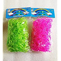 [Artasy ™][並行輸入品] DIY 銀ラメゴムバンドブレスレット (銀ラメグリーン × 銀ラメピンク) Loom Bands Glitter twins refill Pack - (600 + 600 pcs) rubber ring Color: Green X Pink