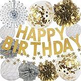 manaparty ( マナパーティ ) 誕生日 飾り付け ゴールド キラキラ コンフェッティ バルーン ガーランド バースデー セット デコレーション manapa01 (ホワイト、グレー)