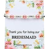 IEFSHINY Wedding Gifts Rhinestone Pearl Bracelet Charm Bracelets for Women Girls Wedding Party Charm for Flower Girl Bridemai