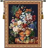 ホーム家具、テラコッタFloral Bouquetブラック、ベルギータペストリー壁吊り、壁アート装飾、32by 42インチ H 42.00 x W 32.00 01.02.04