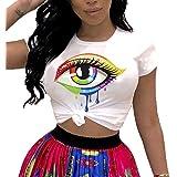 PESION Womens Graphic Tees Short Sleeve Cotton Eye Print Neon Shirt