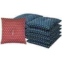 国産 銘仙判座布団 人気の刺子風麻の葉柄 10枚セット 赤系 「中わた たっぷり1kg」