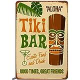 Swono Tiki Bar Tin Signs,Aloha Hawaii Good Times Great Friends Vintage Metal Tin Sign for Men Women,Wall Decor for Bars,Resta