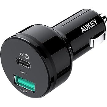 AUKEY カーチャージャー シガーソケットチャージャー 25.5W 5V/3A USB Type-C + 5V/2.1A USB-A AiPower搭載 USB充電器 Android/iPhone/タブレット/GPSユニットなど対応 CC-Y9