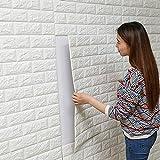 ANGLET 立体 壁紙 シール 3D ウォールステッカー レンガ ブロック タイプ 68cmx76cm (1枚, ホワイト)