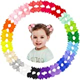 40Pcs 2 Inch Tiny Baby Hair Bows Clips Grosgrain Ribbon Toddler Hair Bows Alligator Clips For Baby Girls Toddlers Infants Fin