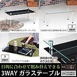 3WAY強化ガラステーブル ( センターテーブル ローテーブル ) クリア 長方形 幅80cm 収納棚付き